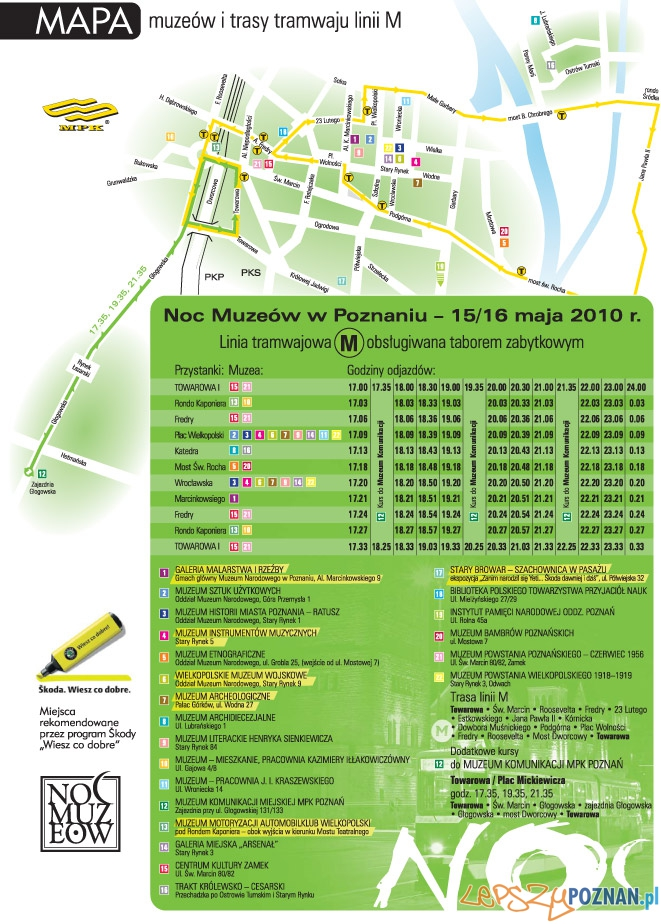 Mapa muzeów i rozkład ajzdy linii M  Foto: