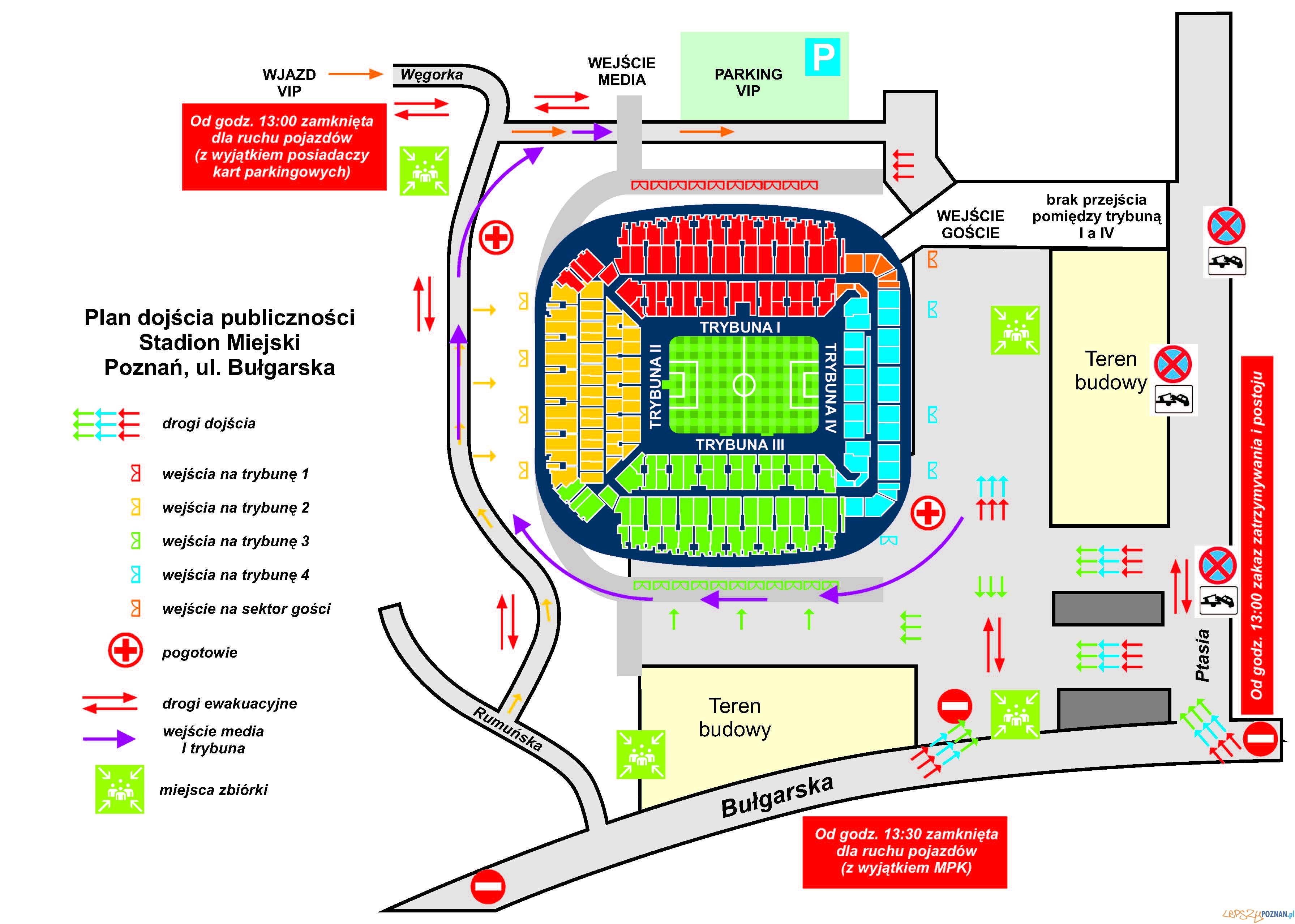 Mapka dojazdu na mecz Lech Poznań - Wisła Kraków w dniu 31.10.2010  Foto: KKS Lech