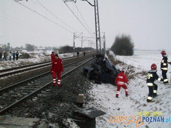 Rozbite Daewoo  Foto: KP PSP Słupca