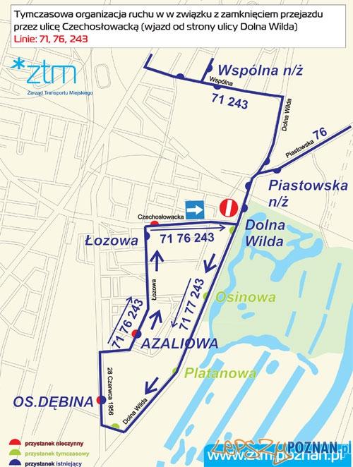 Zmiana przebiegu linii 71, 76, 243  Foto: ZTM