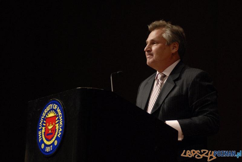 Aleksander Kwaśniewski na Uniwesrytecie Michigan  Foto: Aleksander Kwaśniewski