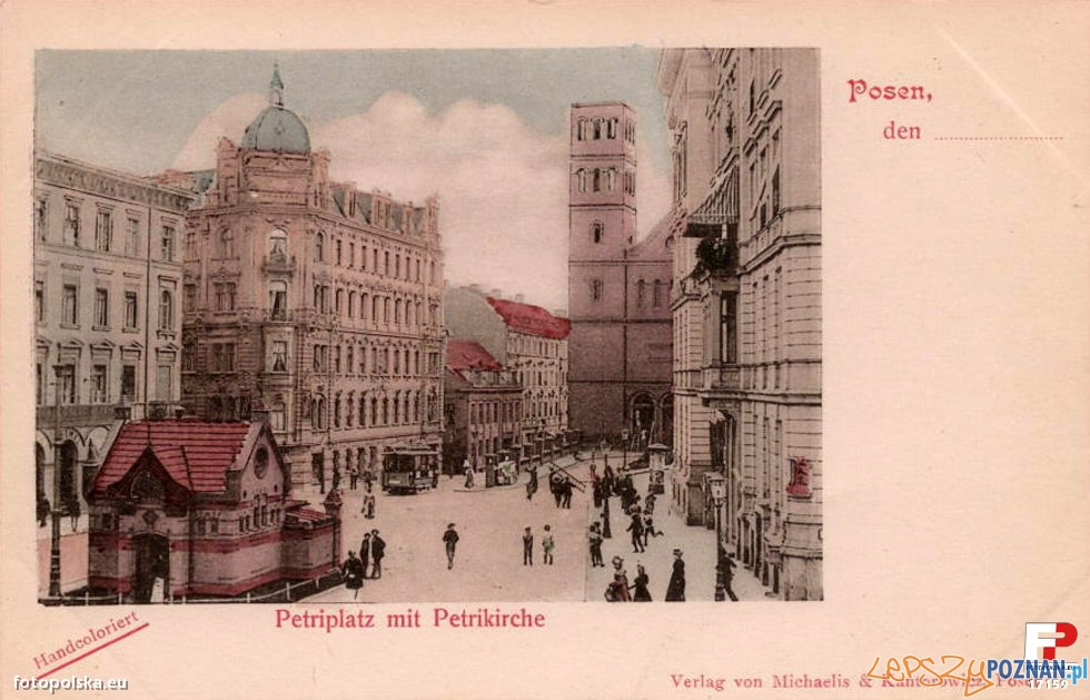 Pocztówka z Poznania, Plac Św. Piotra obecnie Wiosny Ludów, początek XX wieku, przed 1919 r  Foto: