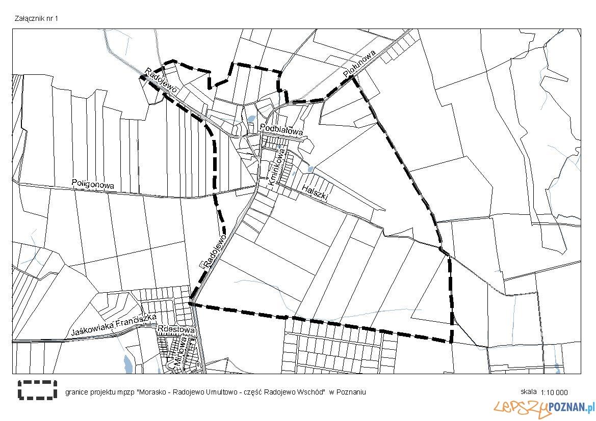 Morasko-Radojewo-Umultowo, część Radojewo Wschód_granica_planu  Foto: