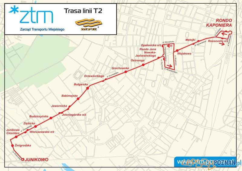 Nowe przystanki na linii T2 (od 18.11.2011 r.)  Foto: ZTM