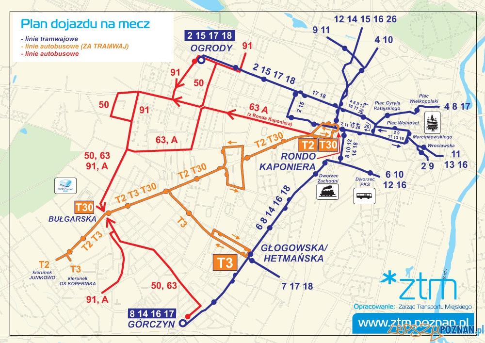 Mapa połączeń komunikacji miejskiej do stadionu  Foto: ZTM