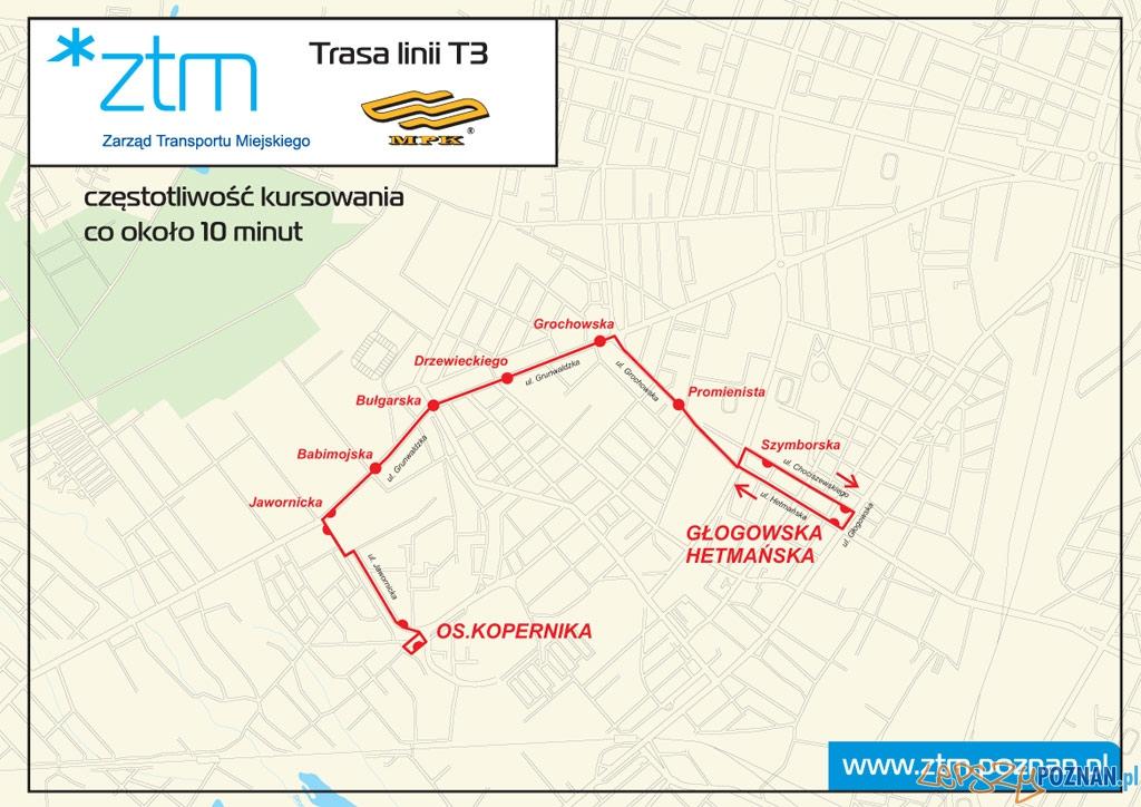 Trasa autobusu T3  Foto: ZTM