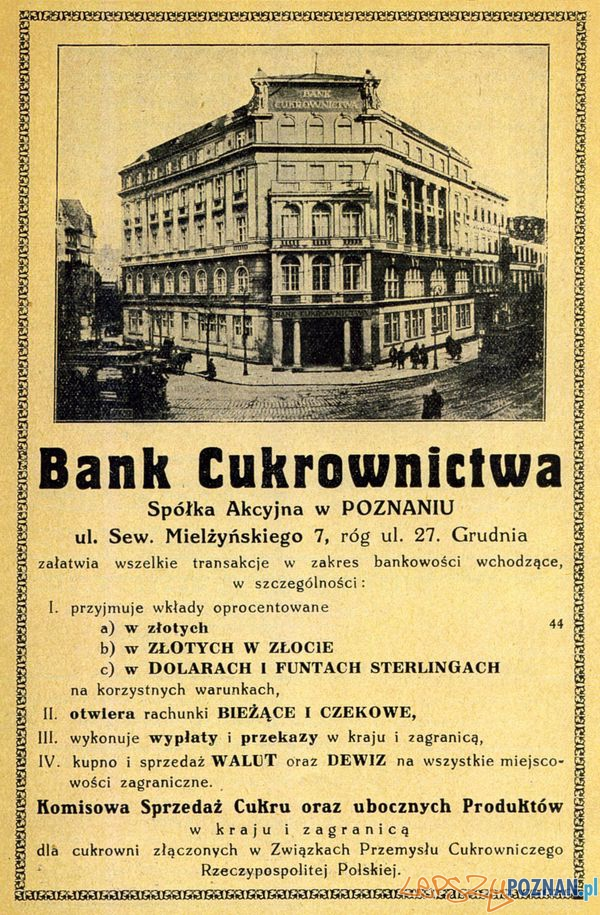 Bank Cukrownictwa  -dzisiejszy Okrąglak, 27 grudnia 16_ 1927  Foto: Muzeum Narodowe w Poznaniu, wystawa Miejska ikonosfera na drukach reklamowych z widokami Poznania 18