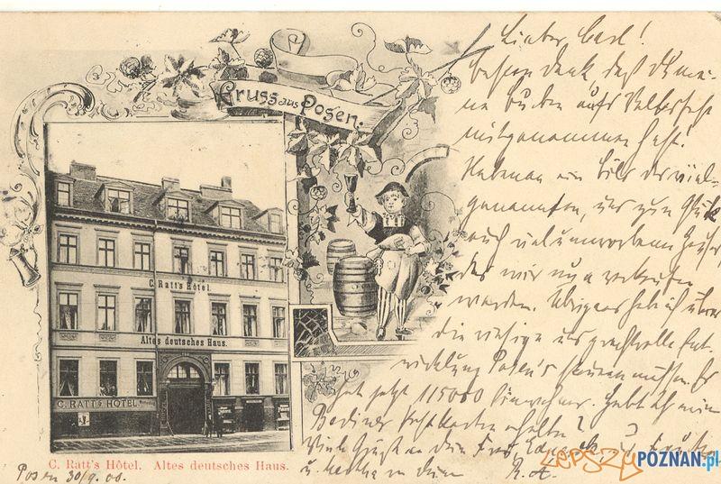 Ratts Hotel, Św. Marcin 67  Foto: Muzeum Narodowe w Poznaniu, wystawa Miejska ikonosfera na drukach reklamowych z widokami Poznania 18