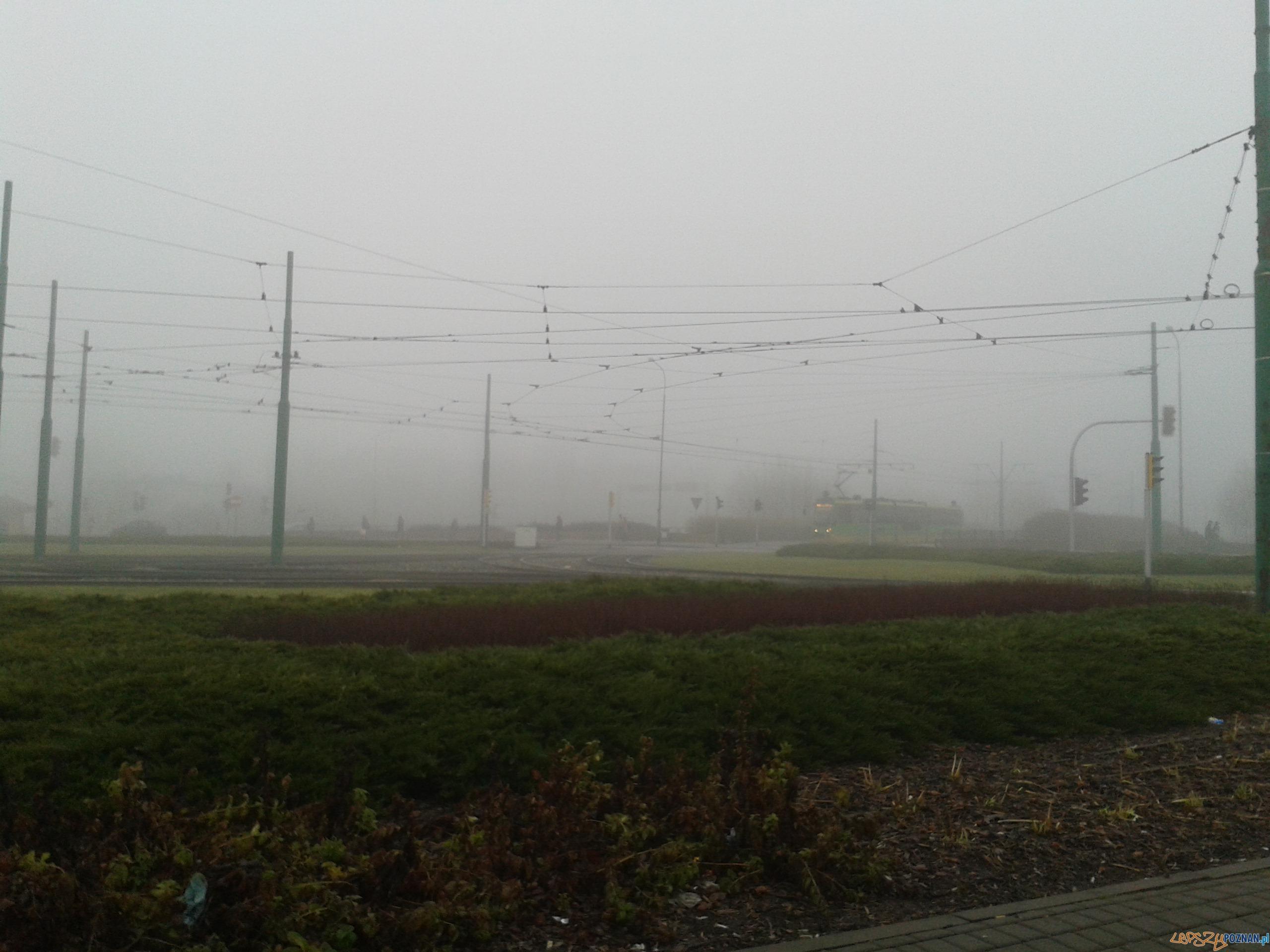 Poranna mgła - Rondo Starołęka  Foto: lepszyPOZNAN.pl / gsm