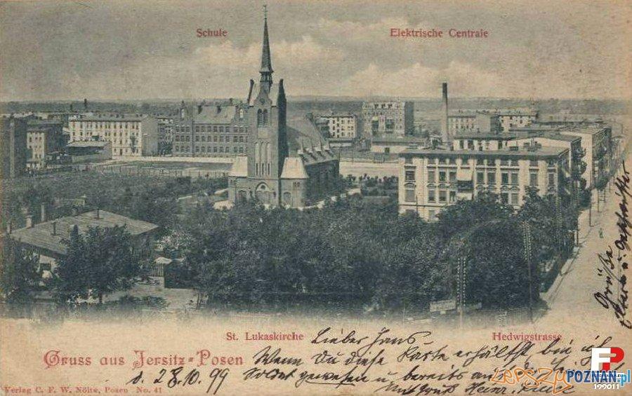Jeżyce 1899, na pierwszym planie kościół przy dzisiejszej ulicy Szamarzewskiego  Foto: fotopolska