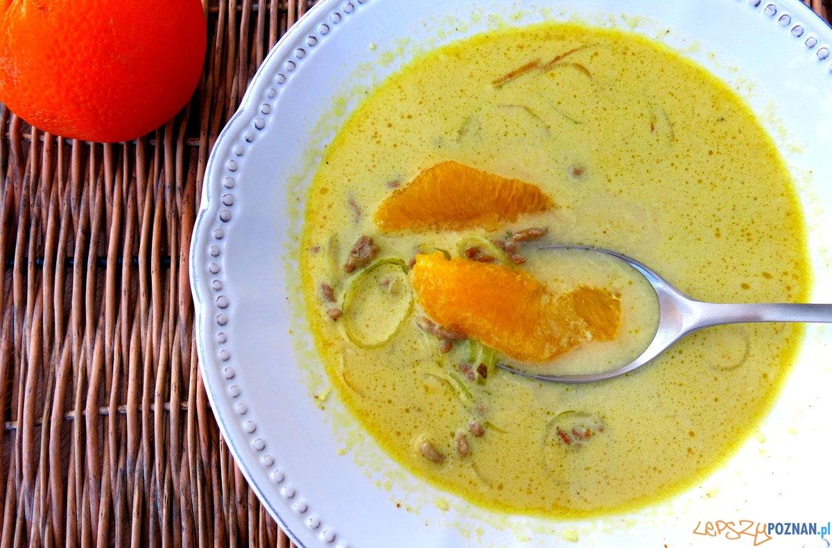 Zupa kokosowo-pomarańczowa z curry i mielonym mięsem  Foto: chilifiga.pl