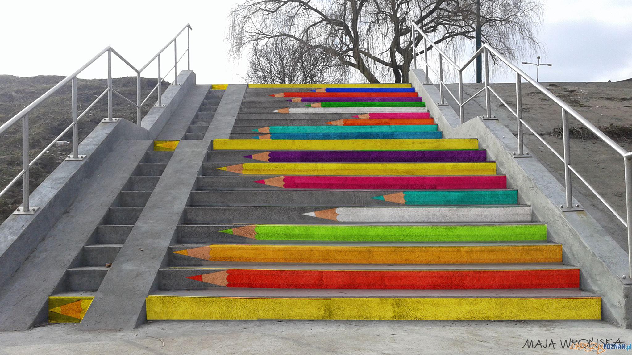 Kolorowe schody przy moście Bolesława Chrobrego  Foto: Takmaj | Maja Wrońska art