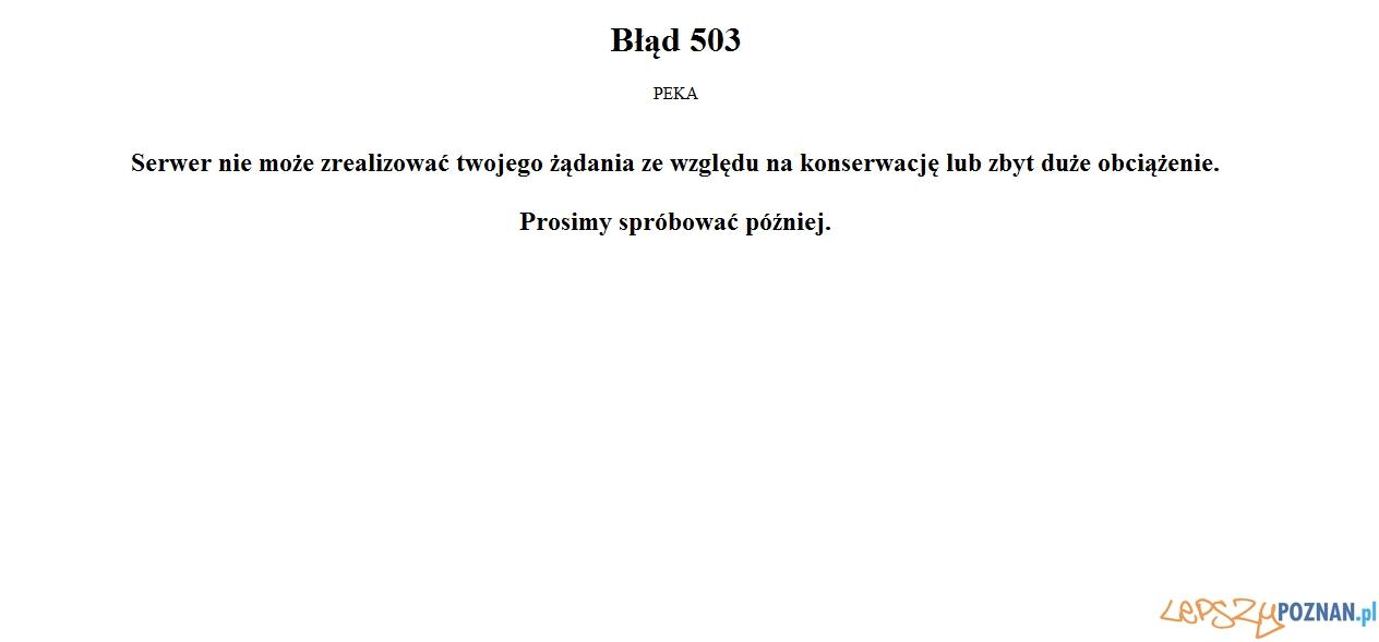 Przeciążenie serwerów strony peka.poznan.pl  Foto: