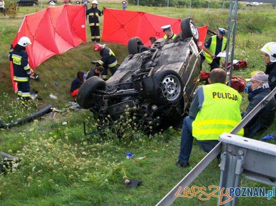 Wypadek na A2  Foto: Państwowa Straż Pożarna