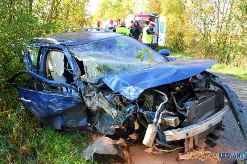 Po wypadku lądował śmigłowiec LPR  Foto: PSP Gostyń