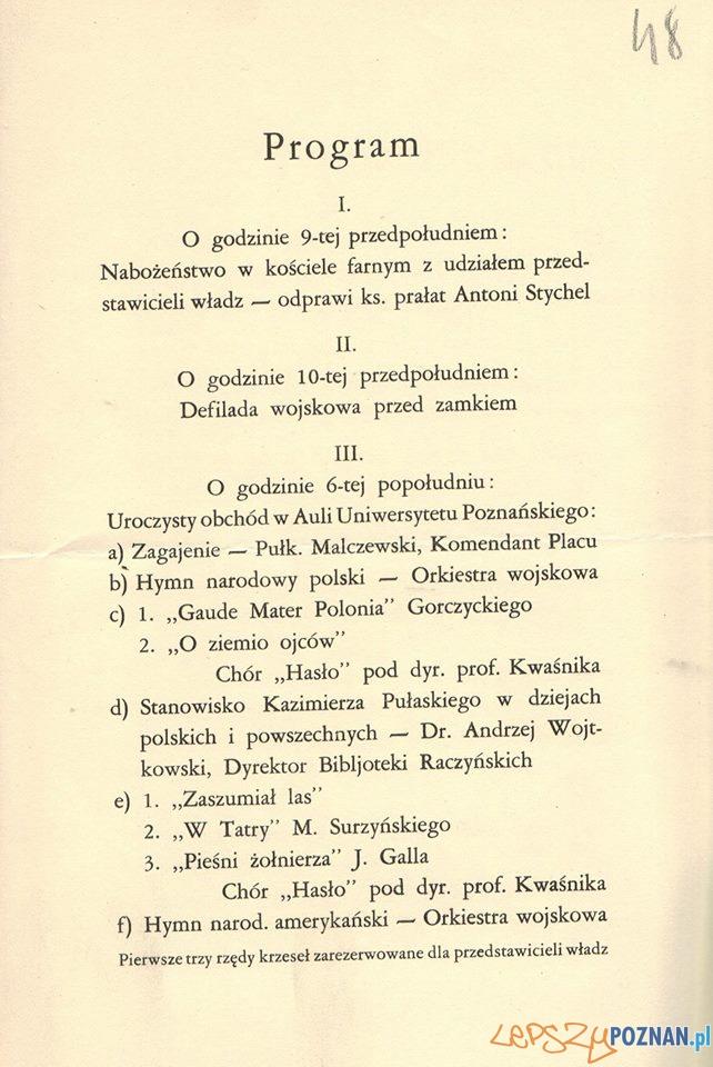 Uroczystości ku czci Pulaskiego - program 1929  Foto: Archiwum Państwowe w Poznaniu