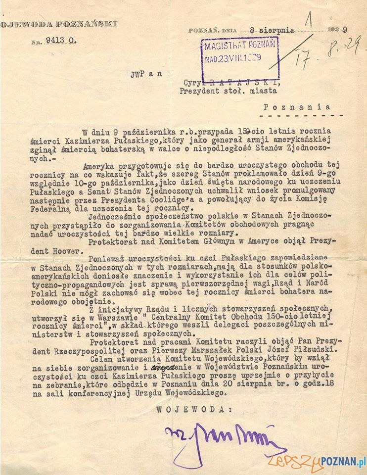Poznań przygotowywał się do odchodów rocznicy śmierci Pułaskiego  Foto: Archiwum Państwowe w Poznaniu