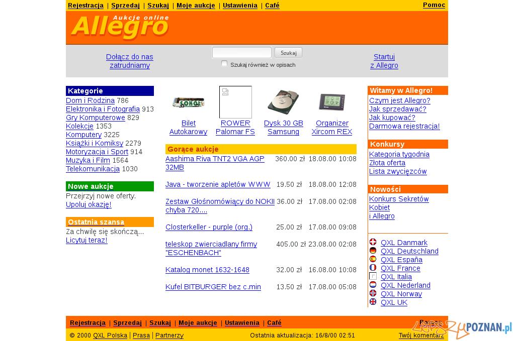 Jak Allegro wyglądało w 2000 roku  Foto: webarchive