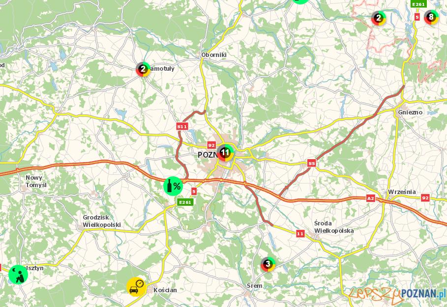 Mapa zagrożeń  Foto: KGP