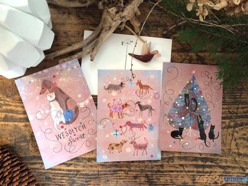 Kartki pocztowe autorstwa Marianny Sztymy. Całość dochodu przeznaczona na zwierzaki  Foto: