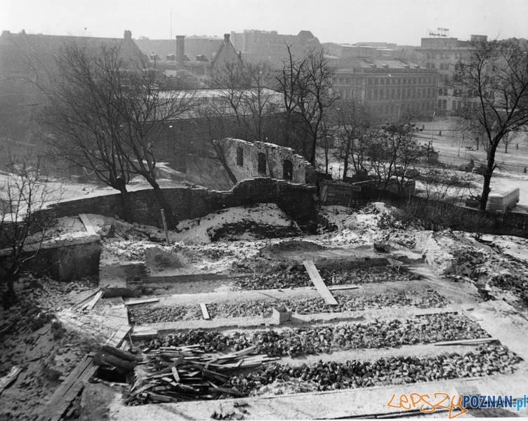 Początek odbudowy Zamku Przemysła 1960  Foto: Muzeum Narodowe w Poznaniu