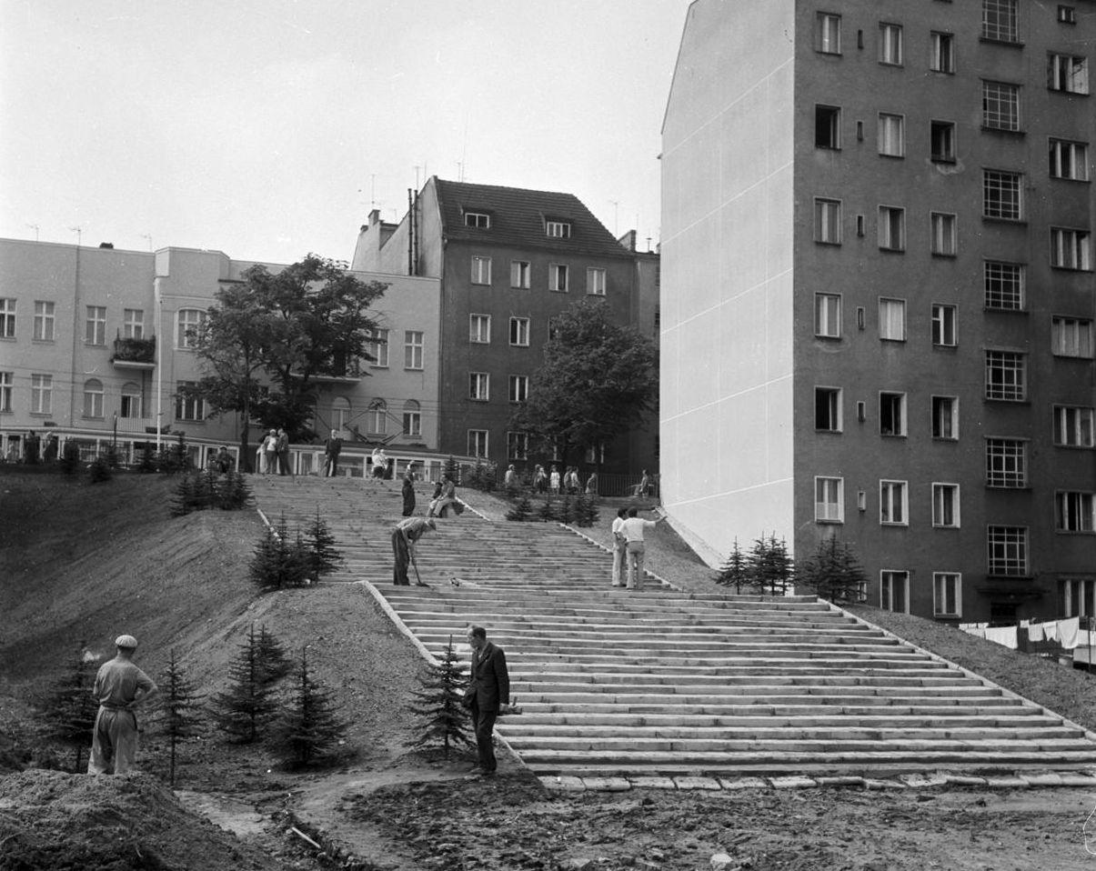 Dolna - Górna Wilda porządki przed Centralnymi Dożynkami 29.08.1974  Foto: Stanisław Wiktor / Cyryl