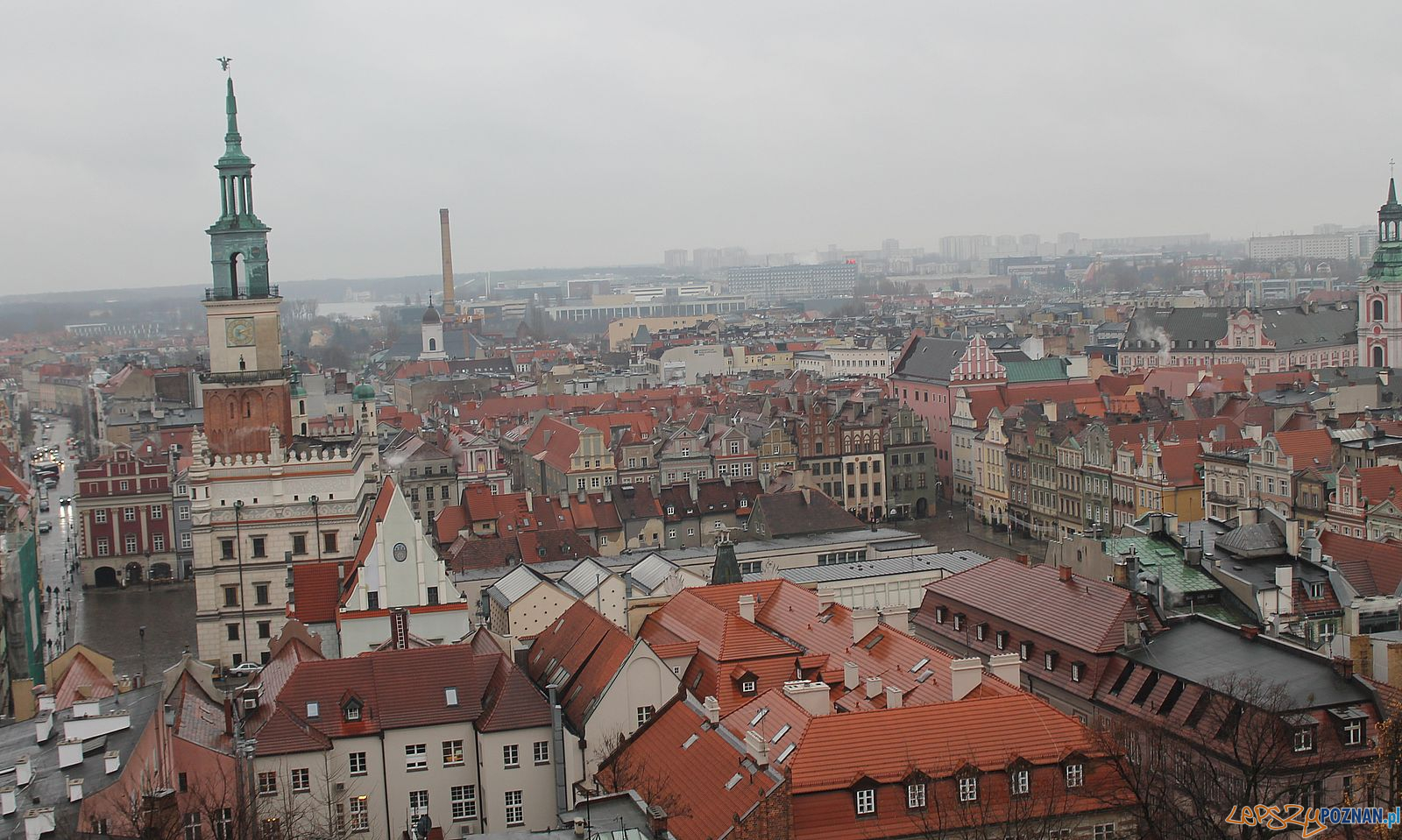 Poznań z lotu ptaka - Stary Rynek [widok z zamku na Wzgórzu Przemysła]  Foto: