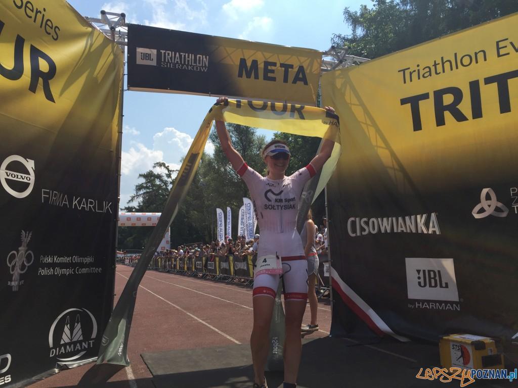 Joanna Soltysiak na mecie Triathlonu Sieraków  Foto: materiały prasowe