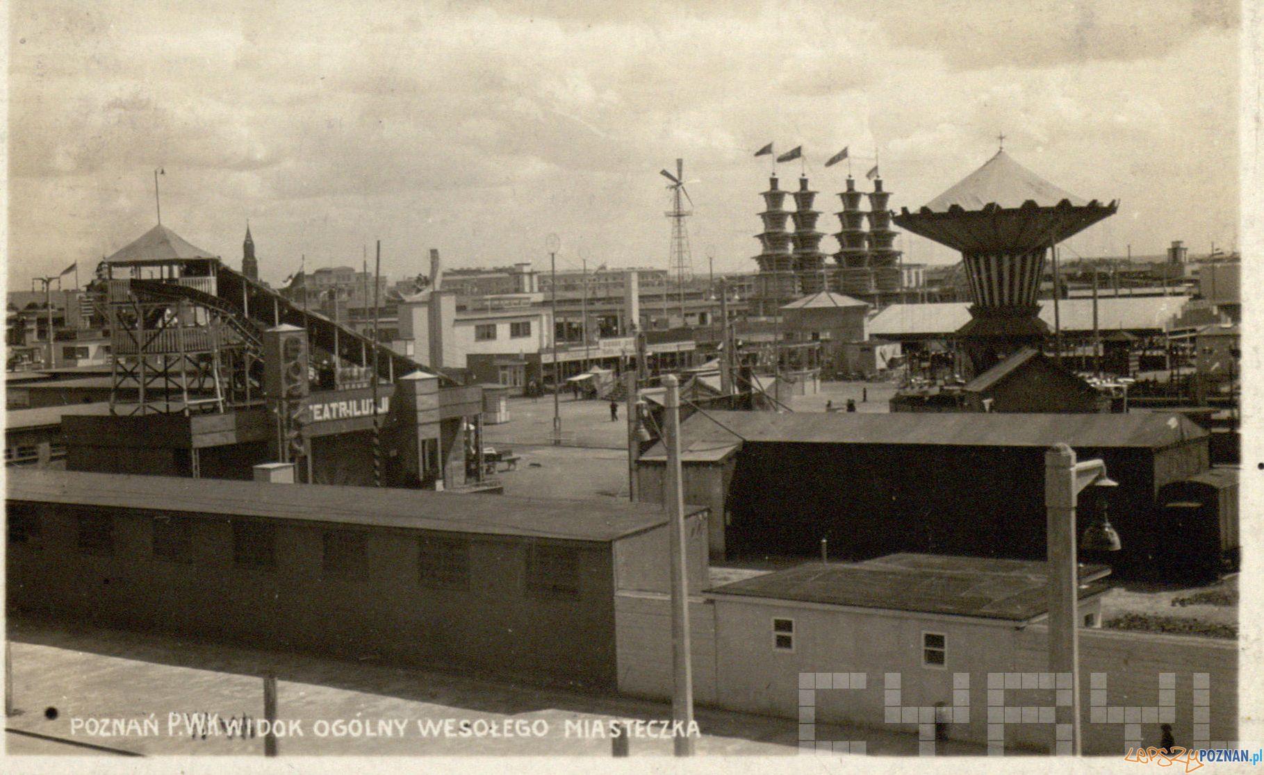 Wesole miasteczko na Pewuce [od strony ulicy Wyspiaskiego]  Foto: Kolekcja pocztówek Romana Trojanowicza / Cyryl