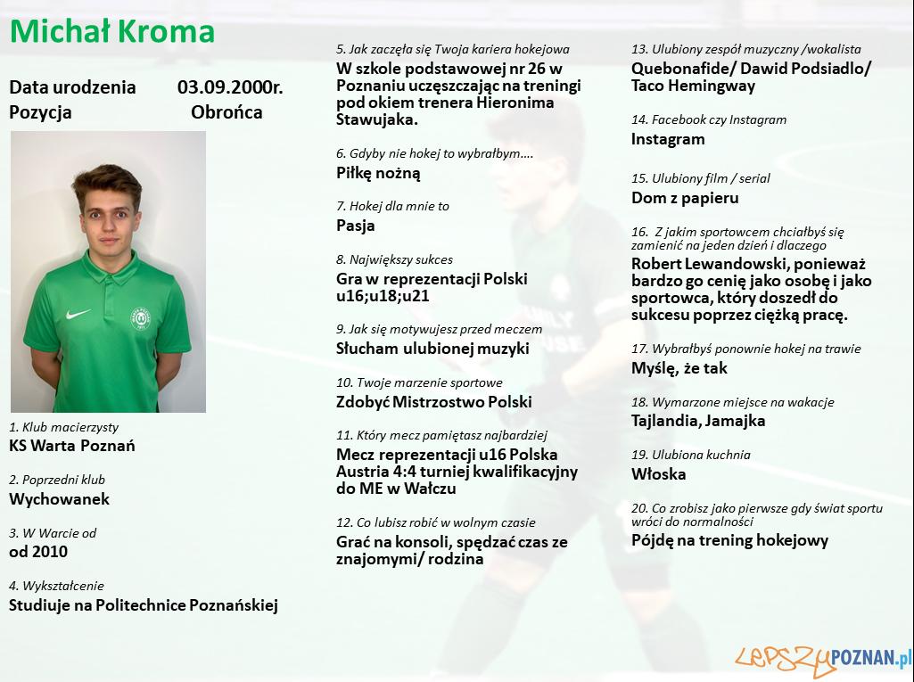 Warta Poznań - Michał Kroma Foto: Warta Poznań / materiały prasowe